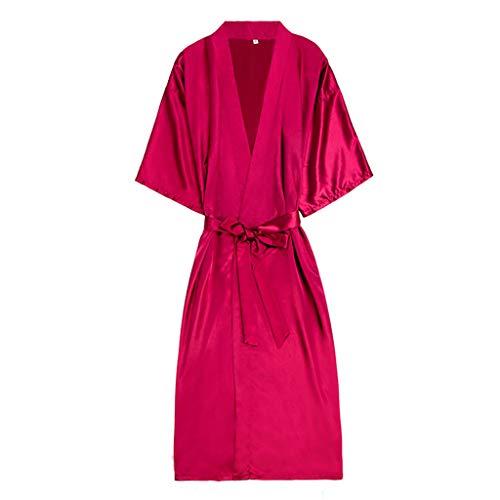 Cotton Knit Pyjama (Schlafanzug Damen Damen Robe Kimono Knit Cotton Light Short Bademantel Kleid Kimono Nachtwäsche Damengürtel Robe (Wein Rot,XXL))