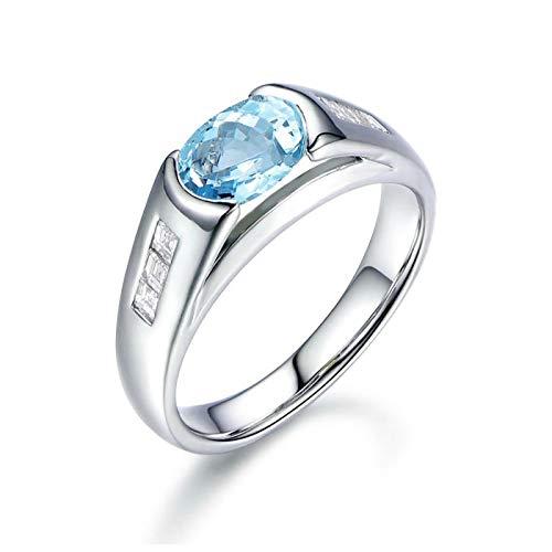 SonMo Ring 925 Sterling Silber Paarringe Hochzeit Ring Heiratsantrag Ring Weiß Gold Oval Siegelring Solitär Hellblau Topas Ovalschliff Damen Ring Zirkonia 60 (19.1)