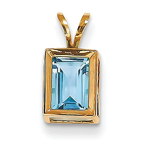 14ct Gold 7x5mm Emerald-Cut Blue Topaz Bezel Pendant