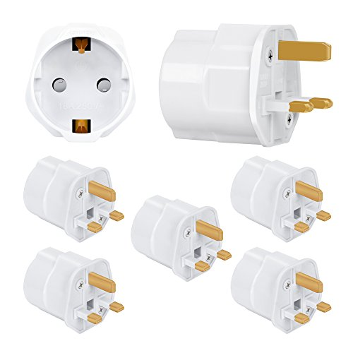 Incutex 5X Reisestecker UK GB England Travel Adapter EU Schuko 2-Pin auf UK 3-Pin Reise Steckdosenadapter Typ G, weiß