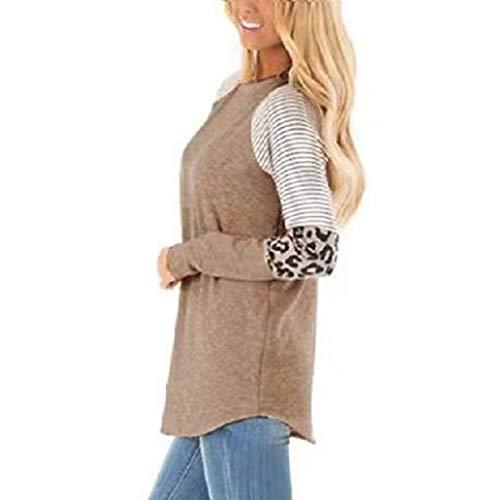 MOTOCO Frauen Lange Hülsen Farbblock Lose T-Shirt Damen Beiläufige übergroße Sweatshirt-T-Stück Blusen Oberseite(M,Braun)