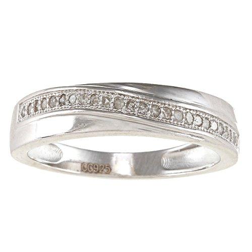Argento Sterling 1/4Milgrain Banda Diamante (G-H, I2), argento, 54 (17.2), cod. R0429GR-sz7