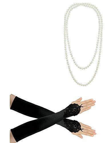 1920er Jahre Zubehörset Flapper Kostüm Charleston ausgefallene Accessoires-1920er Jahre Flapper Stirnband Perlenkette Satin Handschuhe
