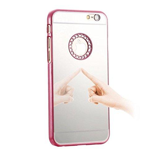 iPhone 6 Plus + Edel Glitzer Bling Spiegel Tasche Handy Hülle Schutzhülle Hard Case Back Rückseite Cover mit Diamant Strass Steine in Weiss Hotpink