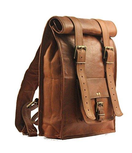 Zaino in pelle in pelle di cuoio dell'annata degli uomini Vintage di VH Zaino dello zaino del sacchetto di latta del Brown del Brown