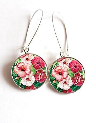 Boucles d'oreilles cabochon fleurs tropicales hybicus fushia et rose