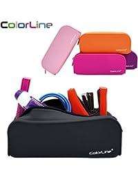 Colorline 58111 - Portatodo de Silicona con Tacto Ultra Soft de Alta Resistencia, Estuche Multiuso para Viaje, Material Escolar, Neceser y Accesorios. Color Negro, Medidas 18 x 7 x 5 cm