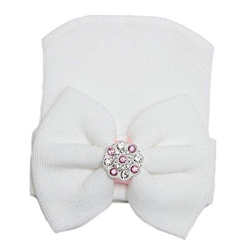 Affe Winter Baby Mädchen Neugeborenes bowknot Beanie Hut Mütze (Weiß)