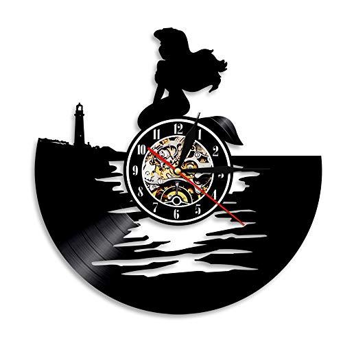 Vinyl-Schallplatte Wanduhr Mystic Mermaid Prinzessin Runde Hohl Vinyl Material Dekoration Uhr für Kinder Schlafzimmer, Wohnzimmer, Küche, Bad, 12 '', 0354