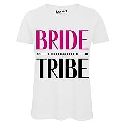 Idea Regalo - CHEMAGLIETTE! T-Shirt Divertente Donna Maglietta con Stampa Addio al Nubilato Bride TribeTuned, Colore: Bianco, Taglia: M