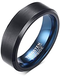 VNOX 6mm Men's Black Tungsten Carbide Band Ring Blue Inside Beveled Edges for Wedding Engagement Anniversary