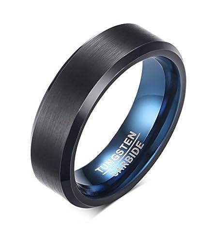 Vnox 6mm Men's Black Tungsten Carbide Band Ring Blue Inside Beveled Edges for Wedding Engagement Anniversary
