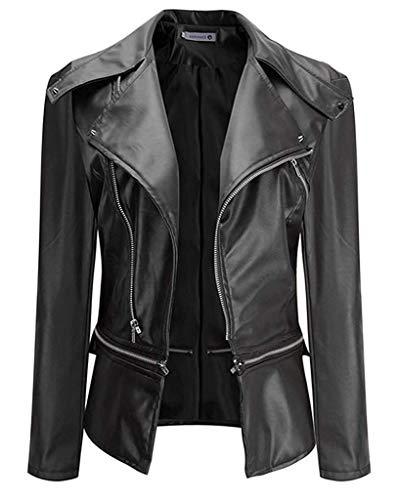 Baihuodress donne giacca da motociclista in pelle con cerniera multi-zip, manica lunga con risvolto sottile, soprabito corto, soprabito da giacca