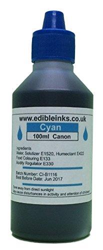 100 ml Cyan nur - essbarer Tinte für den Einsatz in der Originalchip nachfüllbaren Kartuschen oder Standardpatronen RE-Setter, für Canon Drucker (Tinte Essbare Und Papier)