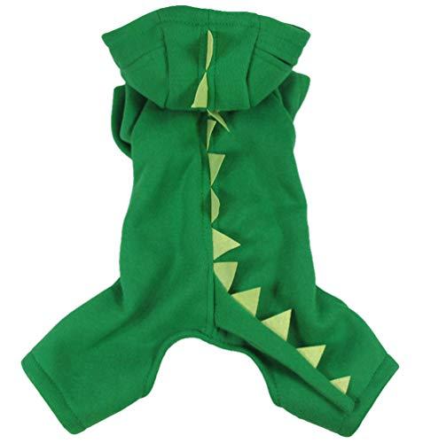 Xinwcang Haustier Kostüm für Hunde Halloween Dinosaurier Hundekostüm Kleidung für Weihnachten Kleid Karneval Hundemantel Grün S