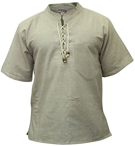 SHOPOHOLIC FASHION Herren Halb ärmlig Hippie Großvater Shirt Grau