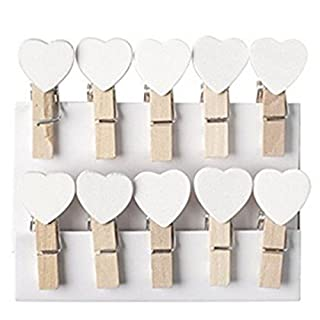 Homiki Pack of 10 White 3.5cm Wooden Pegs, Heart Shape Craft Paper Clips, Card Mini Clothes Pegs, Clips for Photo, Scrapbooking, Craft Gift Packaging