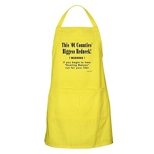 CafePress–biggess Redneck Bbq–Küche Schürze mit Taschen zitronengelb (Lustiges Redneck-humor)