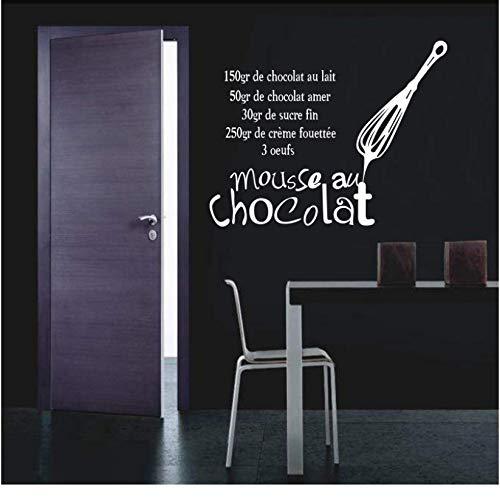 [mzdzhp]Aufkleber Französisch Küche Vinyl Wandaufkleber Aufkleber Mousse Au Schokolade Wandbild Fliesen Wandkunst Küche Tapete Wohnkultur 58 * 78 cm -