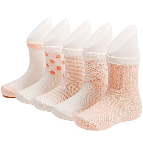 zando Baby Boy Girl Soft Cute Happy infantil bebé niños algodón 5Paquete de calcetines