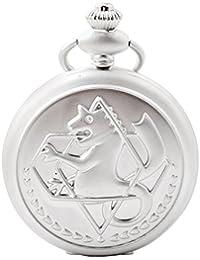 Fullmetal Alchemist reloj de bolsillo – BoShiYa único Hippocampus cuarzo plata Foble reloj de cosplay accesorios con cadena y caja de regalo