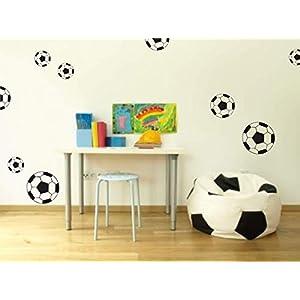 Bogen mit Fußbällen, Wandaufkleber, Wandtattoo, 3 Größen zur Auswahl, Wandsticker, Sticker, Wanddeko, Kinderzimmer, Baby…