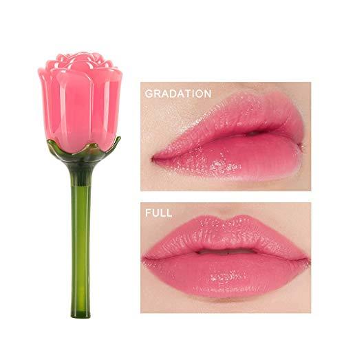 Lippenstift Rot Wasserfest Langlebig Liquid Lipstick Lipgloss Feuchtigkeitsspendende Lippenglasur Lip Gloss Rose Spiegelartiger Langanhaltend Blume Roter Neuer Geburtstag Festival Geschenk (A)