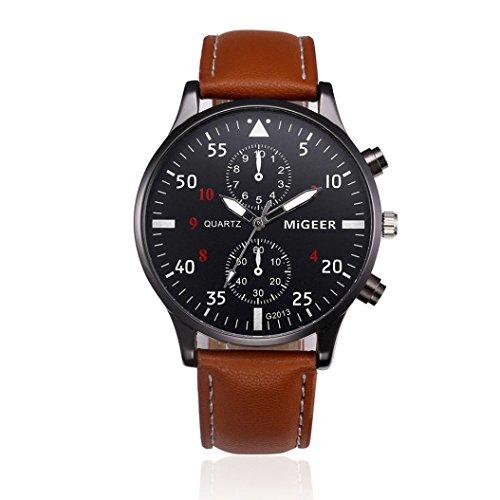 Uhren DAY.LIN Retro Design Lederband analoge Legierung Quarz-Armbanduhr (Braun)