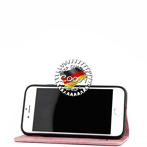 COOVY® PREMIUM DESIGNER CASE HÜLLE TASCHE WALLET COVER SCHUTZ ETUI mit Kartenfach, Magnetverschluss und Ständerfunktion FÜR Apple iPhone 7 mit DISPLAYSCHUTZFOLIE Farbe rot Design Flower Smile lightpink