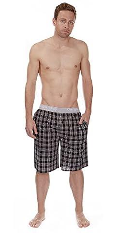 Mens Cargo Bay Flannel Lounge Shorts Mens 100% Cotton Check Sleep Shorts Pants (MEDIUM 30-32