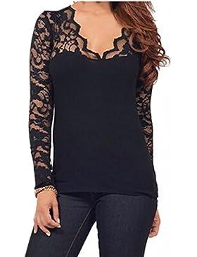 StyleDome Blusa Camiseta Casual Elegante Verano Algodón Encaje Cuello V para Mujer Gordita