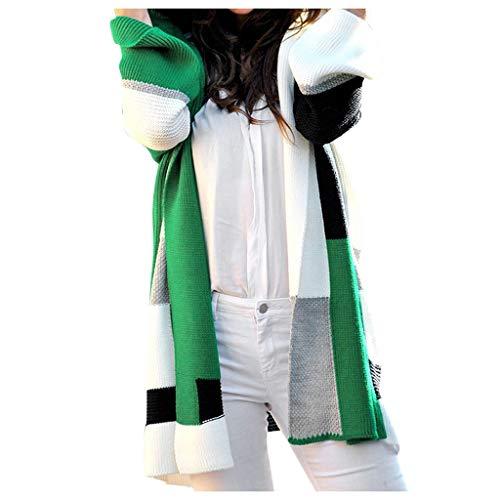 - Knopf-front Blazer Jacke (ZHANSANFM Damen Strickjacke Colorblock Cardigan Mode Loose Fit Strickmantel Langarm Lange Coat Basic Casual Outwear Mantel Frühling Herbst Jacke Festlich Strickpullover (3XL, Grün))
