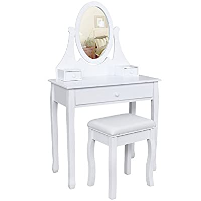 Songmics white Dressing Table Set 137 x 80 x 40 cm with swivelling mirror and stool and Make Up Storage RD