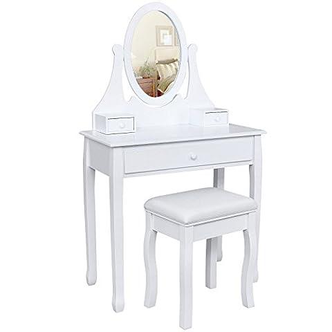 Songmics® Schminktisch Frisierkommode Frisiertisch Kosmetiktisch mit Spiegel inkl. Hocker, weiß, Holz, RDT002