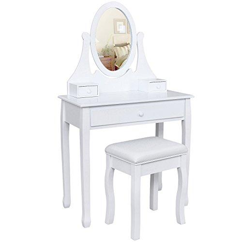 Songmics-Schminktisch-Frisierkommode-Frisiertisch-Kosmetiktisch-mit-Spiegel-inkl-Hocker-wei-Holz-RDT002