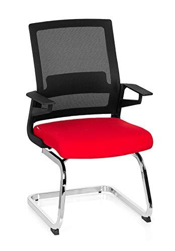 hjh OFFICE 732080 Besucherstuhl Inventor V Stoff/Netzrücken Schwarz Rot Stuhl Freischwinger mit Lordosenstütze