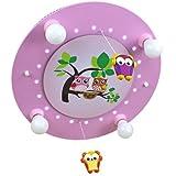 Elobra Kinder Lampe Deckenlampe Eulen Familie mit Mobile Deckenleuchte Kinderzimmer Holz mit Nachtlicht LED, rosa 128244
