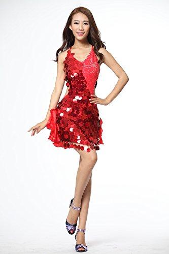 FaithYoo Damen Schößchen Kleid Rot rot One size Rot