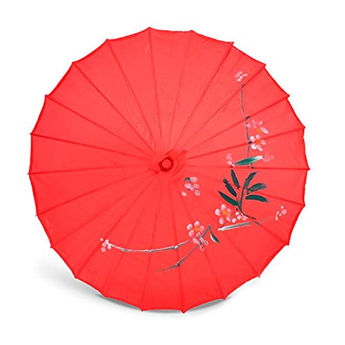 ZJPP Kostüm-Tanzen-Regenschirm, Tanz-Regenschirm, Handwerks-Regenschirm-Öl-Papierregenschirm-dekorativer Regenschirm, Klassische Blume,Red