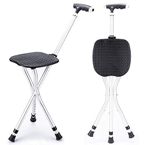 Ergonomische Klapp-krücken (Gao-ss Old Man Krücken Stuhl Vierbeinigen Stuhl Hocker Multifunktions Anti-Rutsch-Klapp Tragbar Mit Hocker Licht Krücken)