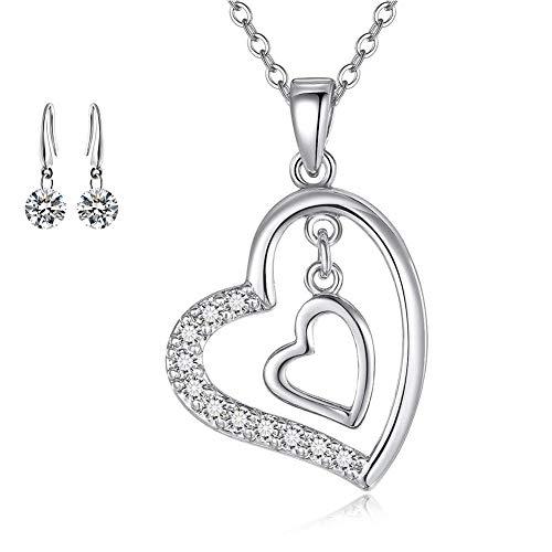 Collana donna doppio cuore collana argento regalo ciondolo ti amerò per sempre amore corto cubic zirconia collana corta ragazza (silver)