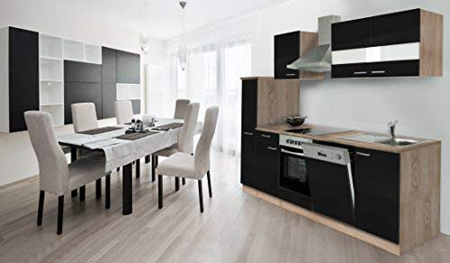 respekta Cocina Coin Cocina Cocina encastrable integrada 250cm de Roble sciage Negro,...