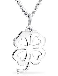 0e9ffac706a8 Trébol de cuatro hojas Flor Corazón Colgante Trébol encanto Sterling Silver  Necklace