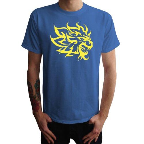 Löwenkopf Tribal Herren T-Shirt Blau