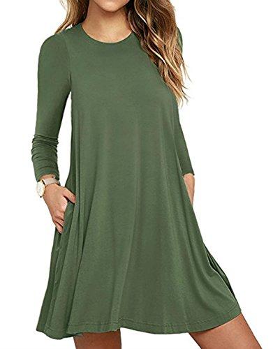T-Shirt Kleid, iPretty Frauen Casual Rundhals mit langen Ärmeln T-Shirt Taschen lose Kleid