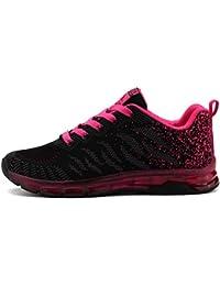 Fexkean Femme Fille Basket Mode Chaussure de Course Running Sport Basses Sneakers Multisports Outdoor Fitness Gym Noir Rose 35-40