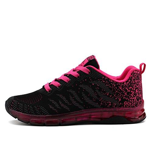 Fexkean Damen Mädchen Laufschuhe Low Top Sportschuhe Sneaker Turnschuhe Mesh Schwarz Pink Rot Violett 35-40(Red38)