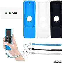 Apple TV Remote Control Cover Case with Wrist Strap / Loop - MV (Paquete de 3 - Negro Blanco Azul)