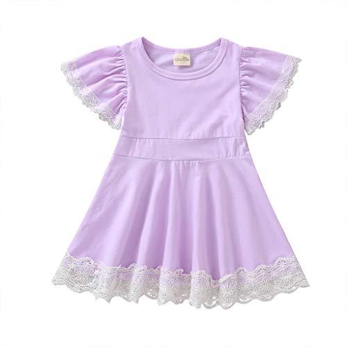 Livoral Mädchen Kurzarm Spitze Folral Patchwork Prinzessin Kleid Kleinkind Kinder Baby Kleidung(Lila,80)