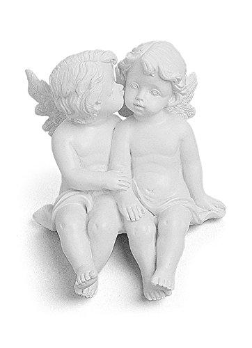 TEMPELWELT Deko Figur Schutzengel Engel Figur Kantenhocker 7 x 8 cm, Polystein Weiß, Engelpaar Engelkinder Sitzen Küssen Dekoengel
